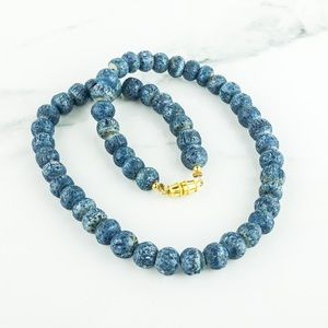Blue Dyed Stone Necklace